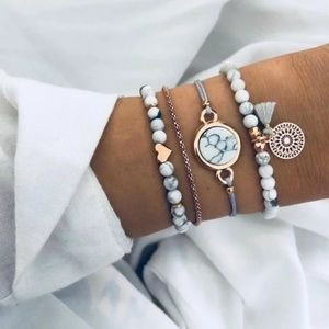Boho 4 Piece White Gray and Gold Bracelet Set